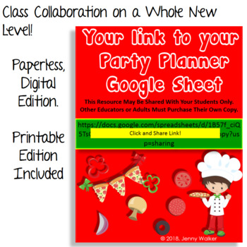 Pizza Party Whole Class Collaborative Planner: Google Sheets for Classroom