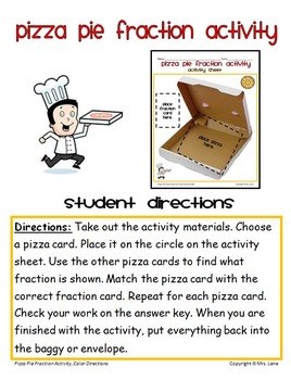 Pizza Pie Fraction Activity