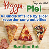 """Pizza Pie, a Bundled Set of """"Slice by Slice""""  Recorder Activities and Flashcards"""