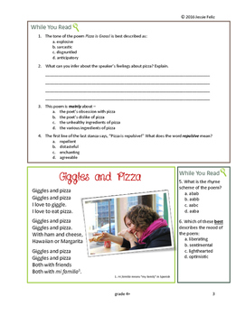 Pizza Pizza! 4th Grade Poetry Lesson Activity Pack (Common Core)