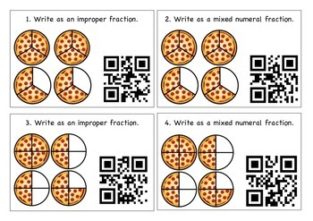 Pizza, Pizza Improper and Mixed Numeral Fractions Solve and Scan QR Codes