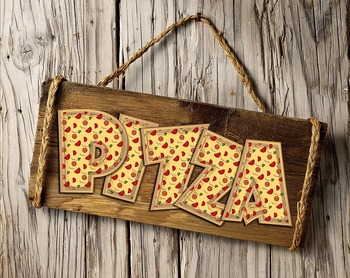 """Pizza! Pizza! Alphabet! - Caps & Numbers - 300 DPI - PDF & PNGs - 4"""" High"""