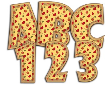 "Pizza! Pizza! Alphabet! - Caps & Numbers - 300 DPI - PDF & PNGs - 4"" High"