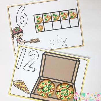 Pizza Playdough Number Mats