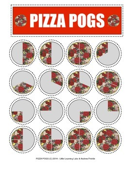 Pizza Pogs Fraction Game Activity comparing & identifying fractions 76 pieces!