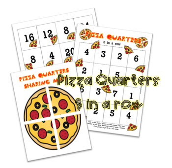 Pizza Quarter Fractions 3 in a row game
