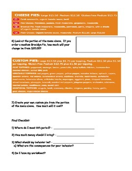 Pizza Restaurant Menu Worksheet; Real World Math; CBI