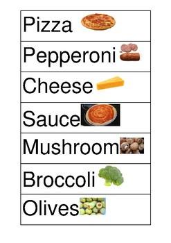 Pizza Restaurant Words