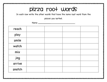 Pizza Root Words Centers Game