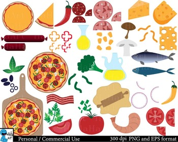 photo regarding Printable Pizza Toppings called Pizza Toppings Clipart Worksheets Education Materials TpT