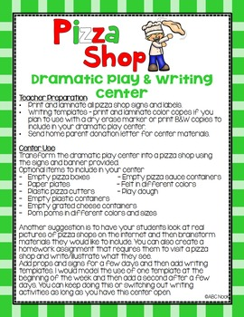 Pizza Shop Dramatic Play and Writing Center
