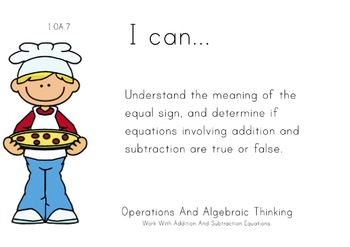 Pizza Theme 1st grade math Common Core Posters first Grade Standards