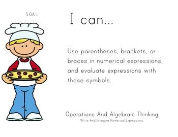 Pizza Theme 5th grade math Common Core Posters Fifth Grade Standards