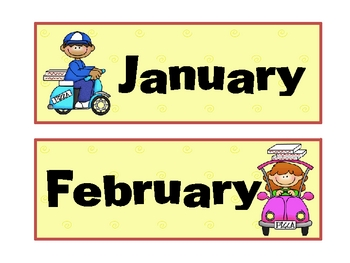 Pizza Theme Calendar Months