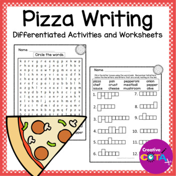 Pizza Theme Literacy and Writing Differentiated Activities and Worksheets