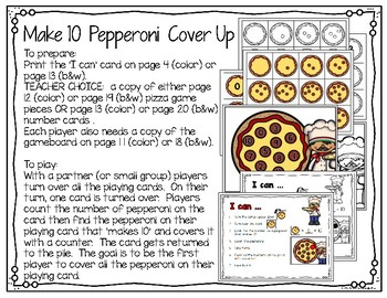 Pizza Themed Math Games (number sense to 10 and make 10)