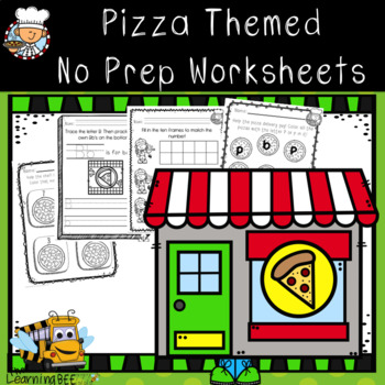 Pizza Themed Math & Literacy No Prep Worksheets