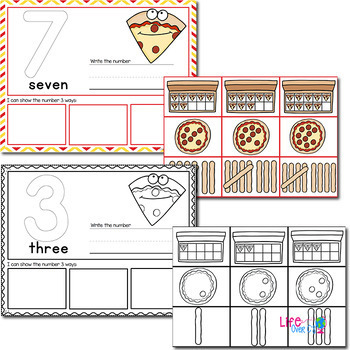 1-20 Pizza Themed Number Recognition Mats | Ten-Frames, Array, Tally Marks