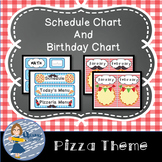 Pizza Themed Schedule Chart Cards and Birthday Chart