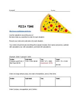 Pizza Time Math