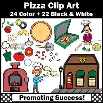Build a Pizza Clipart, Pizza Toppings Clip Art for Crafts or Party SPS