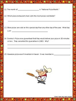 Pizza Webquest - Reading Internet Research Scavenger Hunt Activity Common Core