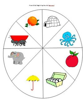 Pizza Wheel Beginning Sounds Activity Matching Pictures Letters