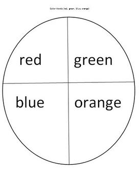 Pizza Wheel Color Words Activity Matching Words with Colors