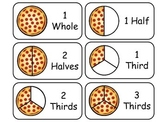 Pizza Word Fractions Flash Cards.  Math fractions printabl