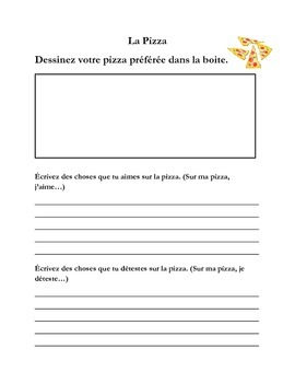 Pizza - Writing Page