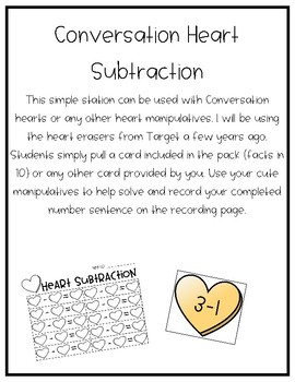 Pizza and Conversation Heart Math Station Bundle