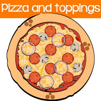 Pizza and Toppings  Digital Clipart