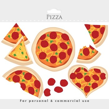Pizza clipart - pizza clip art, slices, heart, cheese, pepperoni, Italian food