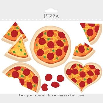 Pizza clipart - pizza clip art, slices, heart, cheese, pepperoni, Italian food