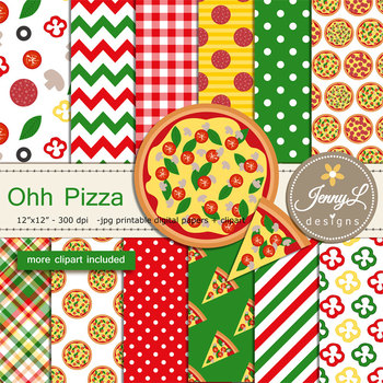 Pizza digital paper and clipart
