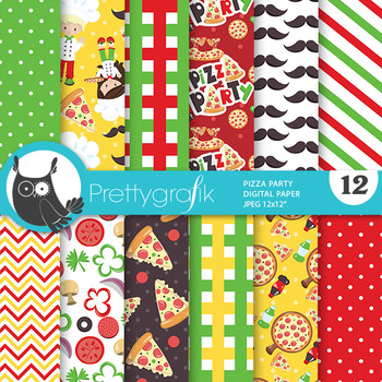 Pizza party papers, commercial use, scrapbook papers - PS786