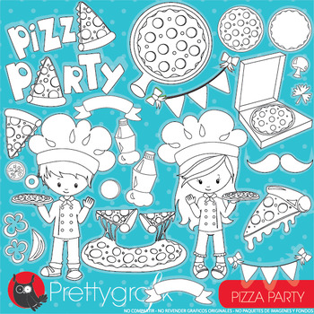 Pizza party stamps commercial use, vector graphics, images  - DS950
