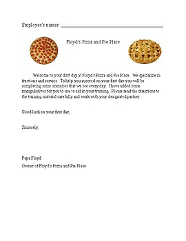 Pizza shop lesson on fractions (adding fractions with unlike denominators)