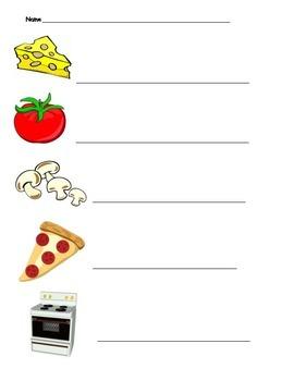 Pizza vocabulary words (handwriting)