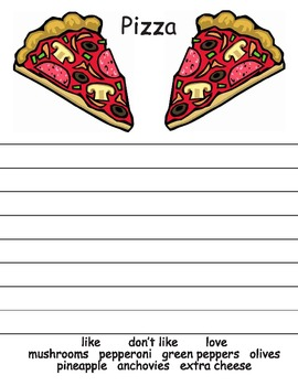 Pizza writing worksheet