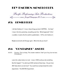 Pkg#3 - Solo, short scene script & key emotional monologues