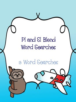 Pl and Sl Blend Word Searches!