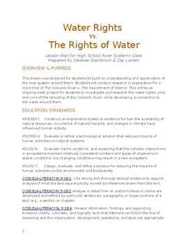 Place-Based River Systems Unit: Water Rights v. Rights of Water