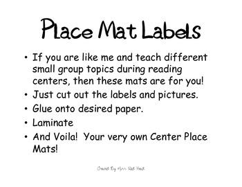 Place Mat Labels