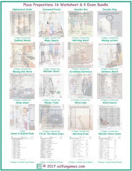 Place Prepositions 16 Worksheet- 4 Exam Bundle