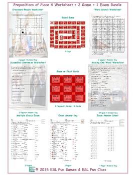 Place Prepositions 4 Worksheet-2 Game-1 Exam Bundle