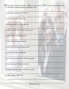 Place Prepositions Scrambled Sentences Worksheet