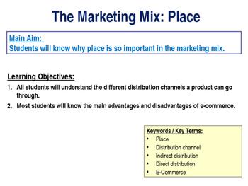 Place - The Marketing Mix - 4 P's - E-Commerce & Distribution Channels