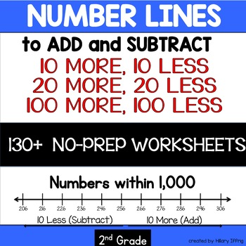 Place Value: 10, 20, 100 more and less  (Blank Number Lines & Practice Pages)
