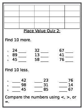 Place Value, 10 More/Less, Comparing Practice and Quizzes